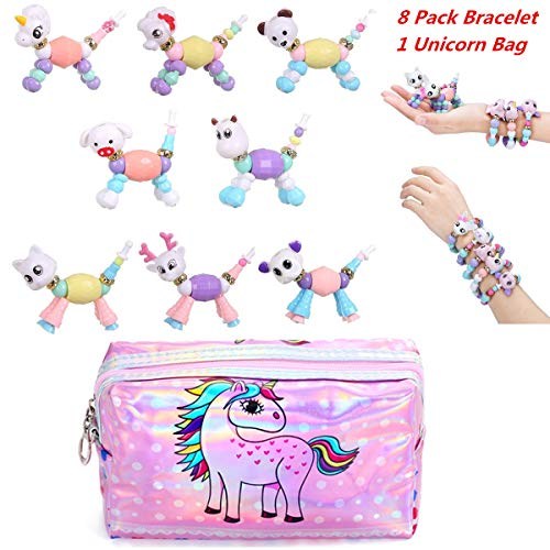 FEIDIAO 8 Pack Cute Pet Bracelet ,Unicorn Cosmetics Bag Deformed Animals Beaded Magical Tricks Bracelet DIY Toy Kids Girls Necklaces, Make a Bracelet Twist into a Pet-A -