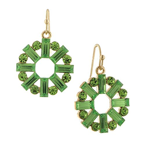 1928 Jewelry Gold Tone Peridot Green Color Crystal Round Baguette Drop Earrings (Earrings Green Baguette)