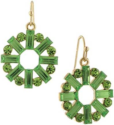 1928 Jewelry Gold Tone Peridot Green Color Crystal Round Baguette Drop Earrings