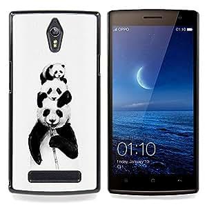Panda Bears Bamboo Black White Baby Cute Caja protectora de pl??stico duro Dise?¡Àado King Case For Oppo Find 7 X9007