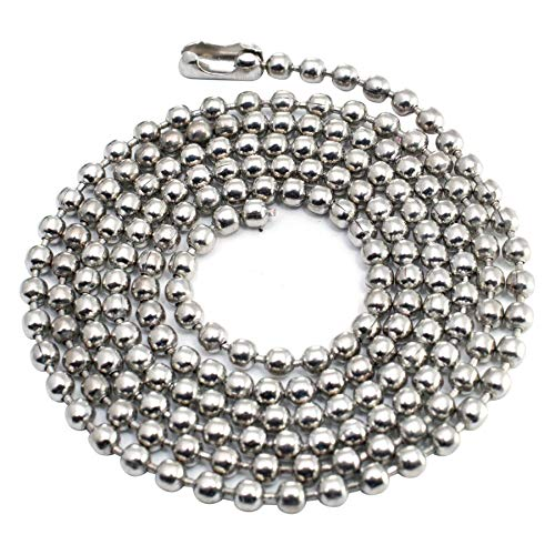 (100pcs Nickel Plated Ball Chain Necklace,30 Inches Long 2.4mm Bead Size # 3 Metal Bead Steel Chain, Military bead chain, Dog Tag Necklace by Special100%)