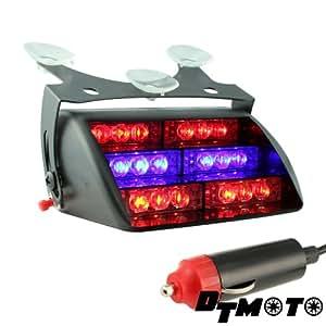 DT MOTO™ Blue Red 18x LED Police Personal Emergency Vehicle Warning Windshield Dash Light - 1 unit