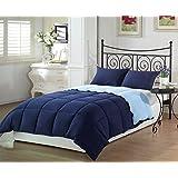 Chezmoi Collection 3-Piece Navy Light Blue Super Soft Goose Down Alternative Reversible Comforter Set, Queen/Full Size