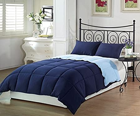 Chezmoi Collection 3-Piece Navy Light Blue Super Soft Goose Down Alternative Reversible Comforter Set, Queen/Full Size