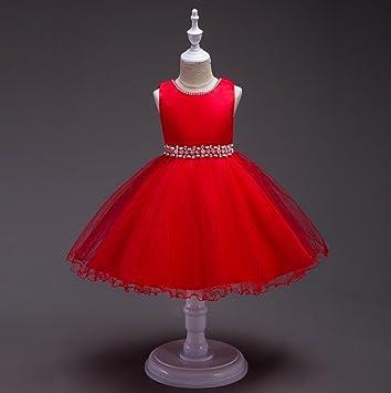 Niños Princesa Fiesta Vestido Tul boda dama de honor Bautizo para niña, rojo, 100