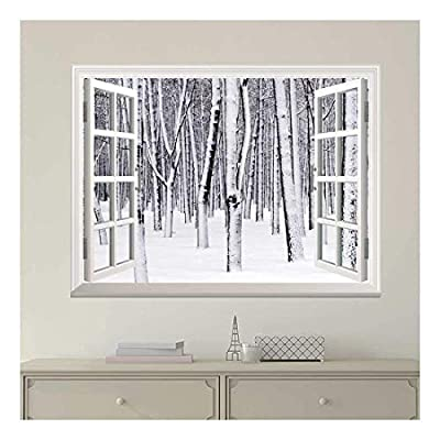 White Window Looking Out Into a Snowed in Forest Wall Mural, Made For You, Handsome Piece of Art