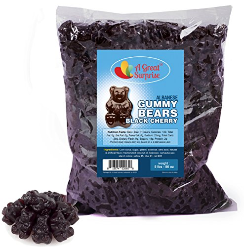Gummy Bears Bulk  Black Cherry Gummy Bears  Gummi Bears Black - Bulk Candy Gummies 5 LB