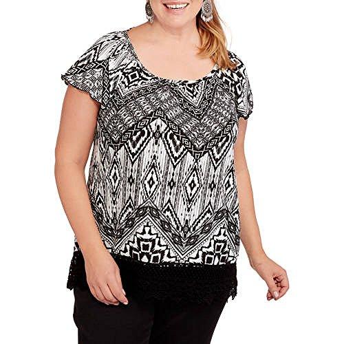French Laundry Women's Plus Cross Back with Crochet Trim Hi Lo Gauze Top (Plus 3X, Spring Ivory)