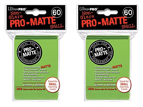 120 Ultra Pro Lime Green SMALL PRO-MATTE Deck Protectors Sleeves Colors Yugioh Vanguard [2 Packs of - Pro Lime
