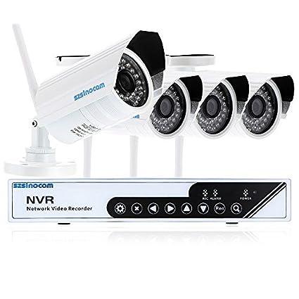 KKmoon CCTV 4CH Vigilancia Inalámbrica 720P NVR Kit Sistema con 4 Exterior / Interior Día /