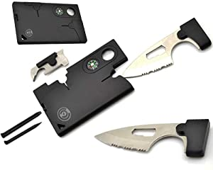 Credit Card Tool Set Card Knife - Best Army Tactical Multitool Pocket Knife Set By Cable And Case - Survival Wallet With Blade - Multi-tool Gift For Dad, Mom, Husband, Wife, Brother Or Sister