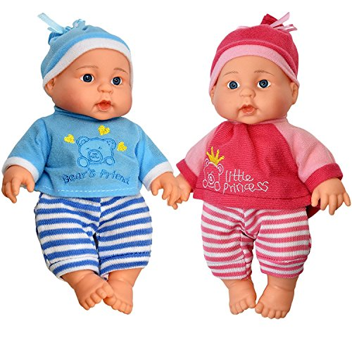 Little Princess Baby Twin Dolls, 9 Inch With Adorable Outfit Super Cute Boy and Girl Twin (Mommy Real Loving Baby Doll)