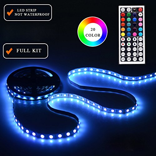 LEH LED Rope Lights RGB Light Strip Non-Waterproof 5050 SMD 16.4 Feet 300 Leds LED Strip Lights Full Kit (Sign Cabinet)