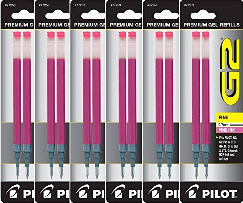 Value Pack of 6 - Pilot G2 Gel Ink Refills for Rolling Ball Pen, Fine Point, Pink (77253) by Pilot