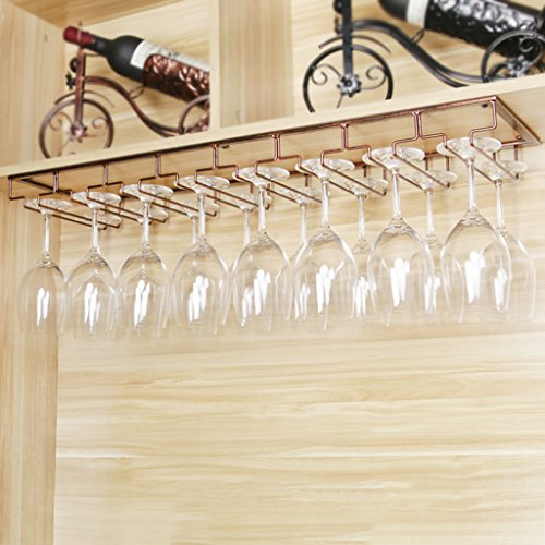 - Nclon Stemware racks Upside down hanging cup Wine cup rack Stainless steel Wine glass rack Champagne-8 Row-copper 8022.5cm