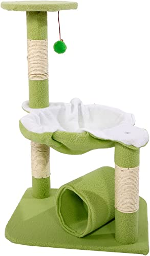 AYNEFY Cat Tower, Stable Cute Sisal Cat Tree Kitty Condo with Scratching Post Pet Cat Climbing Platform Cat Climb Holder Cat Play House Pet Toys