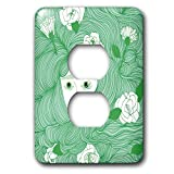 3dRose Daniela Spoto- People - Woman With Long Green Hair And White Flowers - Light Switch Covers - 2 plug outlet cover (lsp_289553_6)