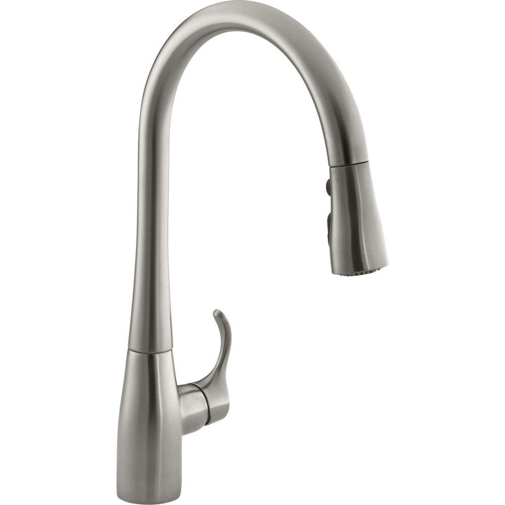 KOHLER K-596-VS Simplice Single-hole Pull-down Kitchen Faucet, Vibrant Stainless