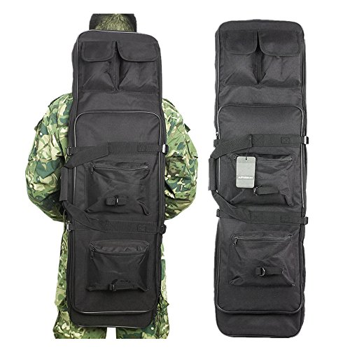 Airsson Tactical Rifle Shotgun AR15 AK47 Pistol Gun Case Cover Soft Double Bag Backpack Fishing Storage with Shoulder Strap Magazine Pouch Nylon (Black, 40