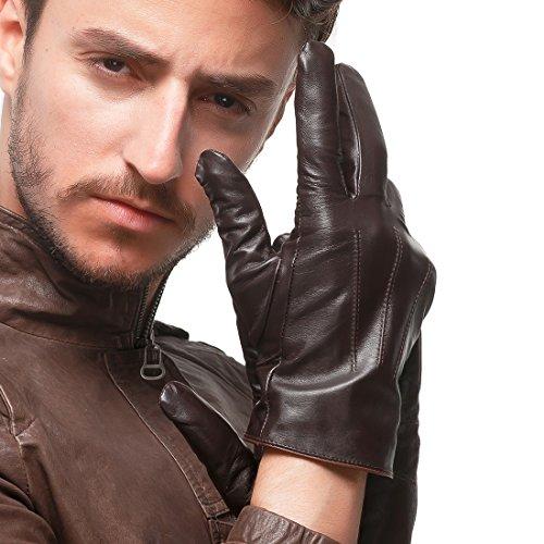 Nappaglo Men's Genuine Touchscreen Nappa Leather Gloves Driving Winter Warm Mittens (XXL (Palm Girth:9.5