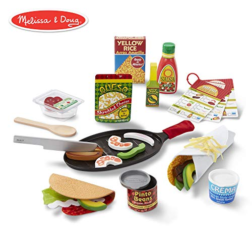 Melissa & Doug Fill & Fold Taco & Tortilla Set (Play Food, Sliceable Wooden Mexican Play Food, Skillet & More, 43 Pieces) -