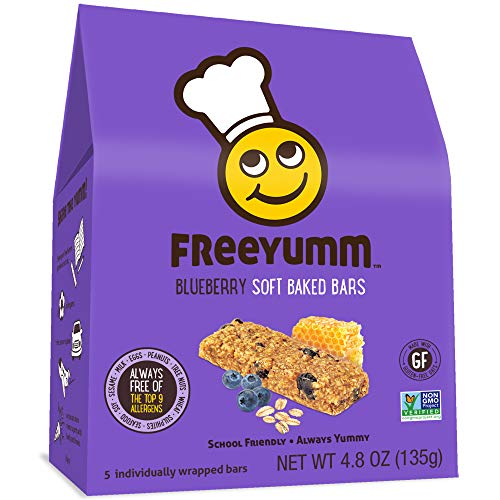FreeYumm Allergen Free Granola Bars, Gluten Free, Dairy Free, Nut Free Snacks for Kids, Total of 15 Bars (Blueberry)