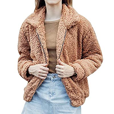 kaifongfu Ladies Winter Warm Fluffy Coat with Pocket Fleece Fur Jacket Outerwear