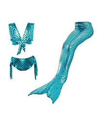 3PCS Girls' Swimsuit Mermaid Tail Swimwear Princess Cosplay Bikini Jellybro