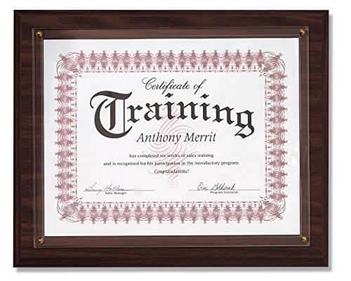 (Walnut Finish Slide-in Certificate Wall Plaque, 11.25 x 13.75 Inches, Holds 8.5 x 11 Inch Certificate)