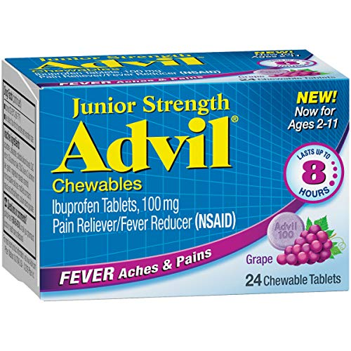 Advil Childrens Ibuprofen - Junior Strength Advil (24 Count, Grape Flavor) Fever Reducer/Pain Reliever Chewable Tablets, 100mg Ibuprofen, Lasts Up to 8 Hours