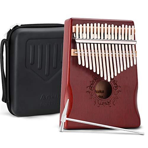 Ankuka Kalimba Thumb Piano 17 Keys with Mahogany Wood, Finger Piano Builts-in Waterproof Protective Box, Easy to Learn Portable Musical Instrument,Gift for Kids Adult Beginners (Mahogany)