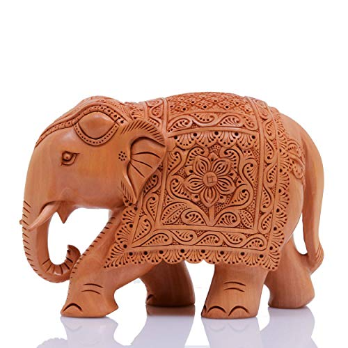 (Indus Creation Wooden Elephant Hand-Carved 4 inch Flower Work Design)