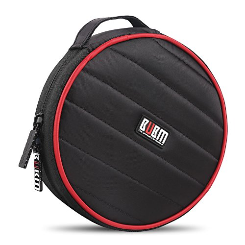 BUBM Car Home Travel Portable 32 Capacity CD/DVD Wallet, 230D Space Twill Cover/Bag/Case (Round,Black)