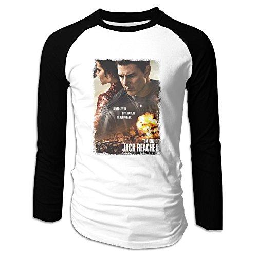 AIJFW Jack Reacher Never Go Back Men's Crewneck Baseball Tshirt XXL