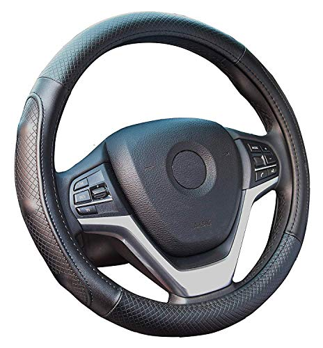 Steering Wheel Covers with Genuine Leather Universal 15 inch for Car Truck SUV (Black with Black Lines)
