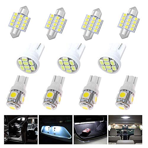 EEEKit 11 PCS White Auto T10 & 31mm LED Lights Interior Bulb Package Kit for Map Dome License Plate Side Indicator Parking Light
