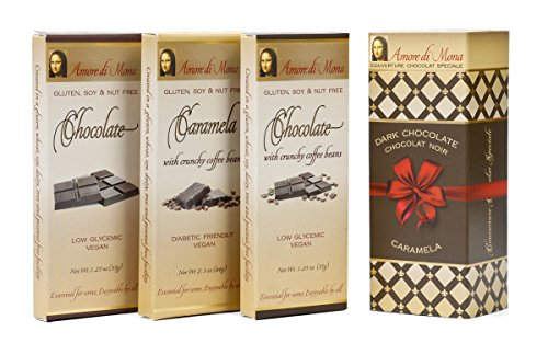 Amore di Mona Vegan Chocolate Gift - Coffee Connoisseur 3 Pack: Plain & Coffee Chocolate Bars & Coffee Caramela. Premium Ingredients are All Natural, Non-GMO, Kosher. Gluten, Soy, Sesame, Nut Free
