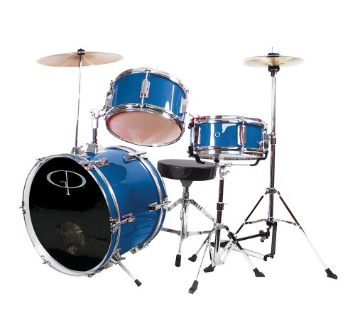 GP Percussion GP50MRB Complete Junior Drum Set (Metallic Royal Blue, 3-Piece Set)