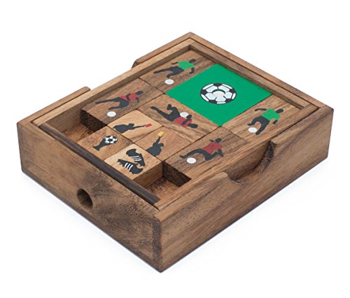 Soccer Game: Handmade & Organic 3D Brain Teaser Wooden Puzzle for Adults from SiamMandalay with SM Gift Box(Pictured)