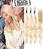 Wicca Unprocessed Virgin Brazilian Human Hair Body Wave 3 BundlesWith 44 Closure Hair Extensions Human Hair Bundles 613# Color (10 10 10 with 10, 613# Color)