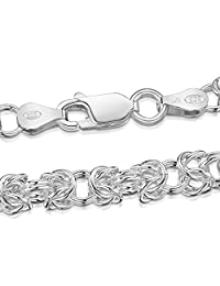 """Amberta 925 Sterling Silver 4.7 mm Byzantine Chain Necklace Length 24"""" inch / 60 cm (24)"""