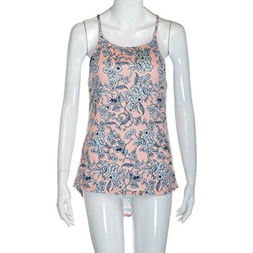 Ouneed Las mujeres de verano chaleco floral blusa sin mangas casual camiseta Rosado