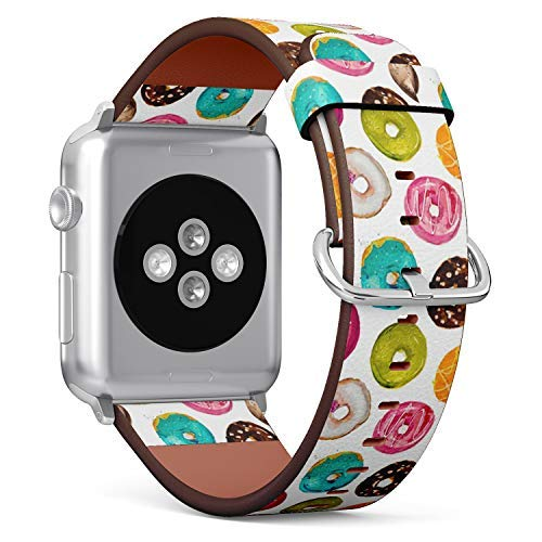 Compatible with Apple Watch 38mm & 40mm Leather Watch Wrist Band Strap Bracelet with Stainless Steel Clasp and Adapters (Watercolor Donuts) (40 Mm Donut)
