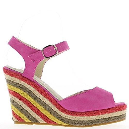 Fucsie sandali a 10,5 cm e zeppa piattaforma