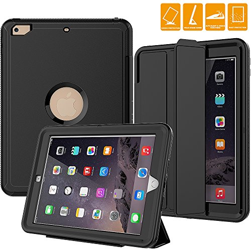 New iPad 2017 Case, SEYMAC Smart Case [Protective Cover] with Auto Sleep Wake Function, Three Layer Drop Protection Rugged /Heavy Duty Case for New iPad 9.7 inch (Black)