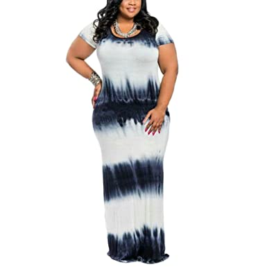 ec0e8b734d Akmipoem Women's Plus Size Short Sleeve Tie Dye Bodycon Maxi Long Dress