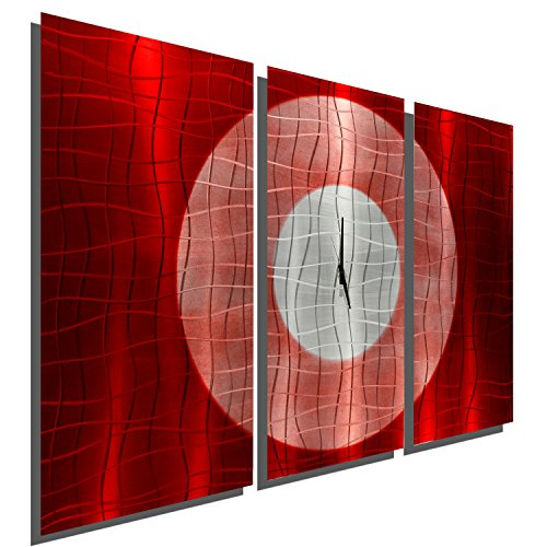 Large Hand-Crafted Modern Red and Silver Metal Wall Clock...