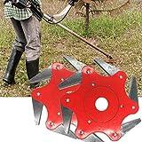 Maikouhai Lawn Trimmer Head, 65 Mn Steel Garden Yard Courtyard Lawn Mower Grass Eater Trimmer Head-Brush Cutter Tool 6 Teeth Blades Razors, Mounting Hole Dia 1'' (Set of 2, Red)