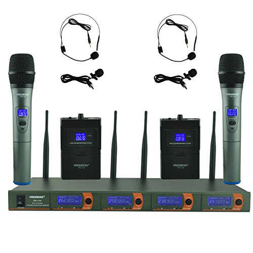 Freeboss FB-V04 2 Handheld 2 Headset Lavalier Vhf Wireless (Professional Vhf Wireless Headset Microphone)