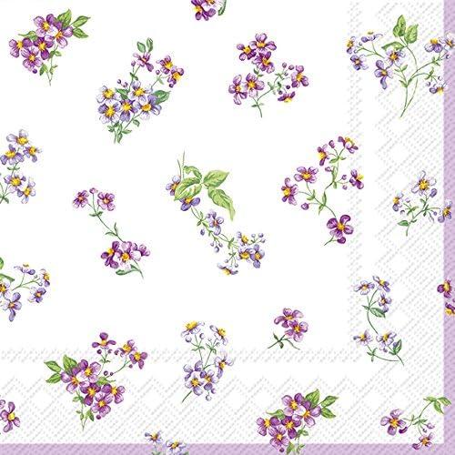 PRBELLINA cream floral Cocktail or Tea Napkins paper 25 cm square 20 in pack